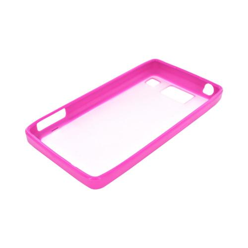 Motorola Droid RAZR HD Hard Back Case w/ Gummy Crystal Silicone Lining - Pink/ Frost White