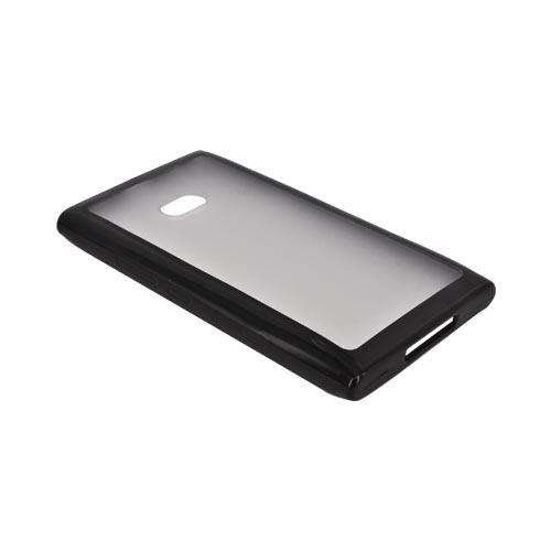 Nokia Lumia 900 Hard Back w/ Gummy Silicone Border - Black/ Frost White