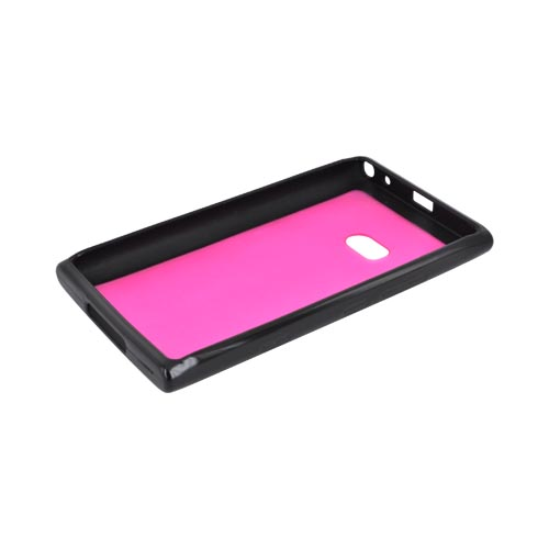 Nokia Lumia 900 Hard Back w/ Gummy Silicone Border - Black/ Hot Pink