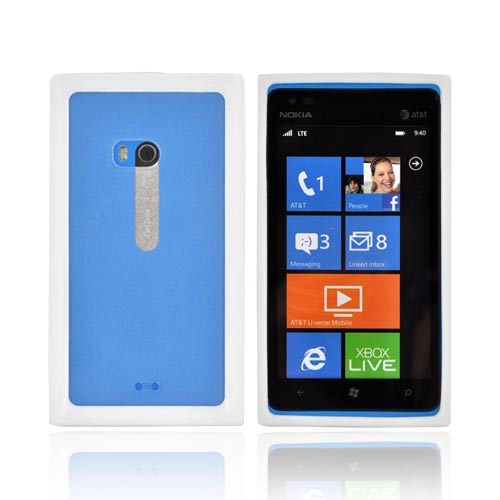 Nokia Lumia 900 Hard Back w/ Crystal Silicone Border - White/ Clear