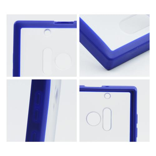 Clear Hard Back w/ Blue Crystal Silicone Border for Nokia Lumia 928