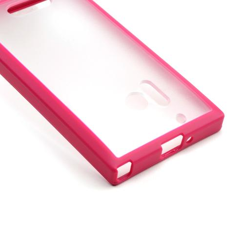 Clear Hard Back w/ Pink Crystal Silicone Border for Nokia Lumia 928