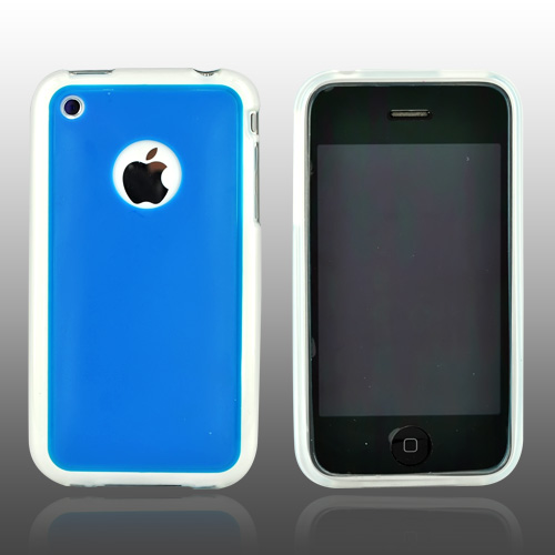 Apple iPhone 3G 3GS Hard Back w/ Gummy Crystal Silicone Lining - Blue/Clear