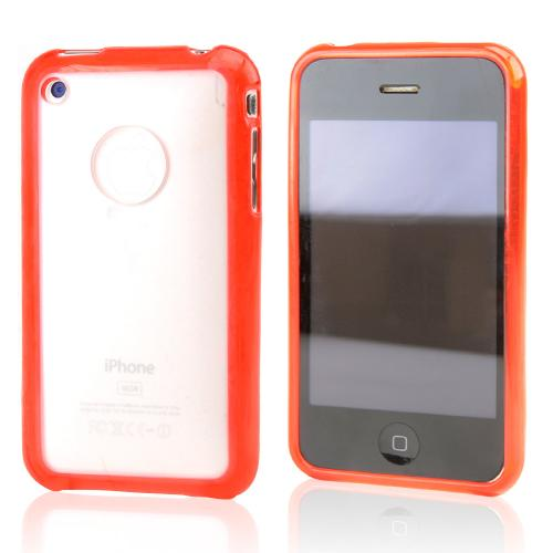 Apple iPhone 3G 3GS Hard Back w/ Gummy Crystal Silicone Lining - Red/Black