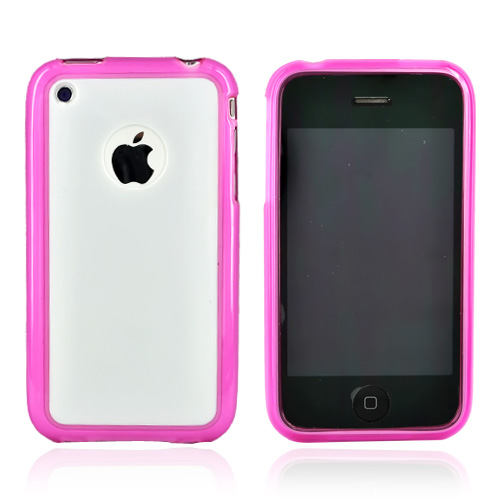 Apple iPhone 3G 3GS Hard Back w/ Gummy Crystal Silicone Lining - Solid White/Transparent Magenta