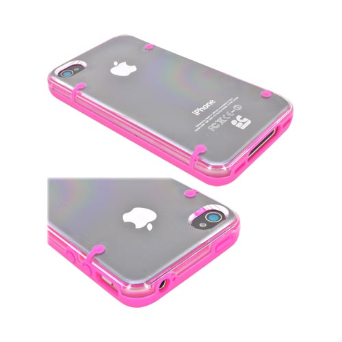 AT&T/ Verizon Apple iPhone 4, iPhone 4S AquaFlex Hybrid Hard Case w/ Crystal Silicone Border & Screen Protector - Hot Pink/ Clear