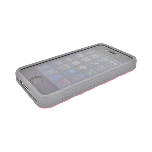 AT&T/ Verizon Apple iPhone 4, iPhone 4S Dimpled Hard Back w/ Crystal Silicone Border Case - Hot Pink/ Gray