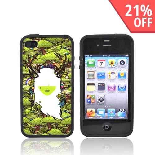Original Jared Nickerson Apple iPhone 4 Hard Back w/ Gummy Silicone Border Case - Mother Nature 2