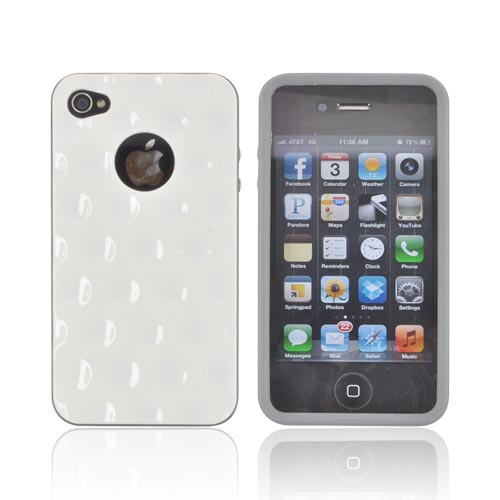AT&T/ Verizon Apple iPhone 4, iPhone 4S Dimpled Hard Back w/ Crystal Silicone Border Case - Solid White/ Gray