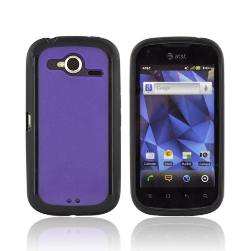 Pantech Burst 9070 Hard Back w/ Gummy Silicone Border - Purple/ Black