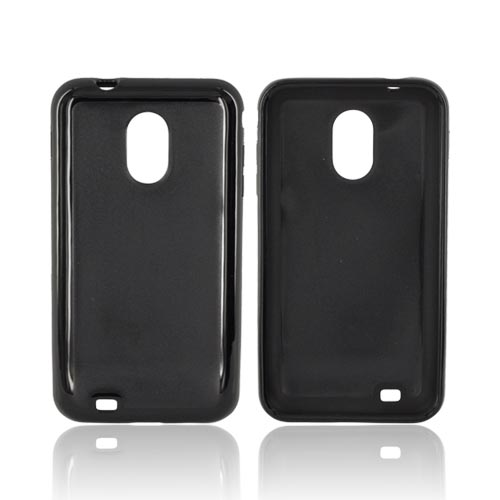 Samsung Epic 4G Touch Hard Back w/ Gummy Silicone Border Case - Black