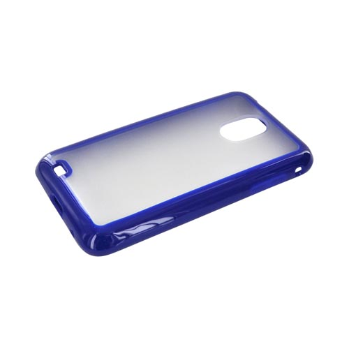 Samsung Epic 4G Touch Hard Back w/ Gummy Silicone Border Case - Blue/ Frost White