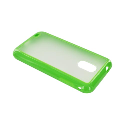 Samsung Epic 4G Touch Hard Back w/ Gummy Silicone Border Case - Green/ Frost White
