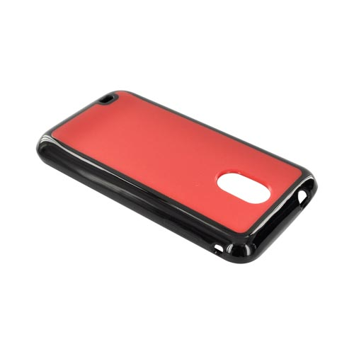 Samsung Epic 4G Touch Hard Back w/ Gummy Silicone Border Case - Red/ Black