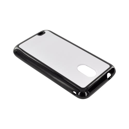 Samsung Epic 4G Touch Hard Back w/ Gummy Silicone Border Case - Solid White/ black