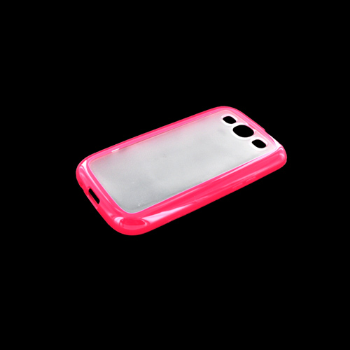 Samsung Galaxy S3 Hard Case w/ Gummy Silicone Border - Pink/ Frost White