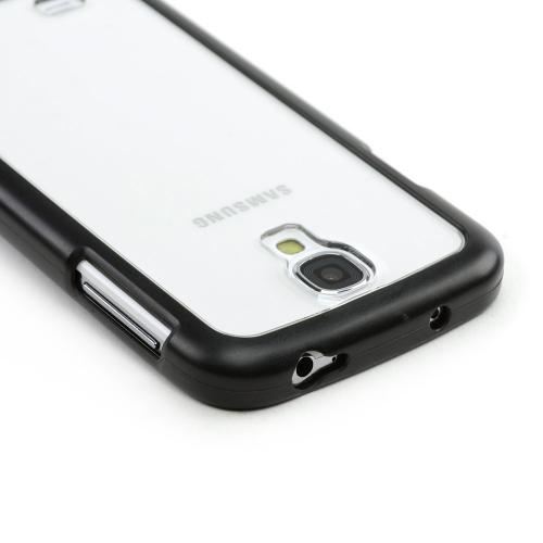 Geeks Protection Line (GPL) Clear Hard Back w/ Black Crystal Silicone Border for Samsung Galaxy S4