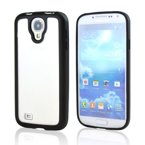 Clear Hard Back w/ Black Gummy Crystal Silicone Lining for Samsung Galaxy S4