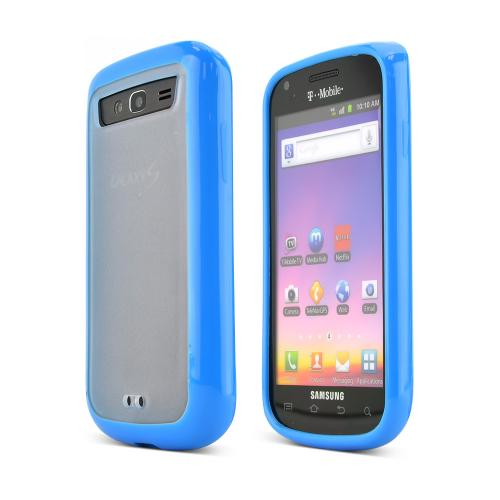 Samsung Galaxy S Blaze 4G Hard Back Case w/ Gummy Crystal Silicone Lining - Blue/ Frost White
