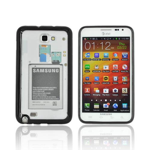 Samsung Galaxy Note Hard Case w/ Gummy Silicone Border - Black / Frost White