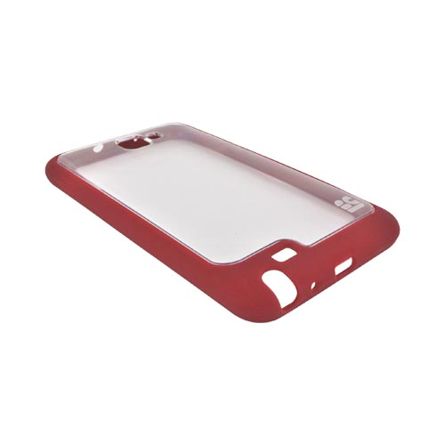 Samsung Galaxy Note AquaFlex Hybrid Hard Case w/ Crystal Silicone Border - Red/ Clear