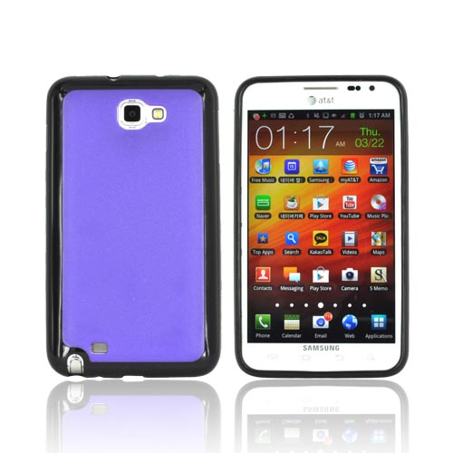 Samsung Galaxy Note Hard Case w/ Gummy Silicone Border - Purple/ Black