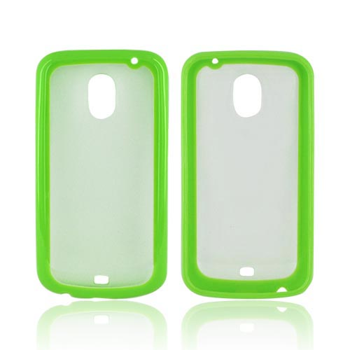 Samsung Galaxy Nexus Hard Back w/ Crystal Silicone Border - Neon Green/ Frost White