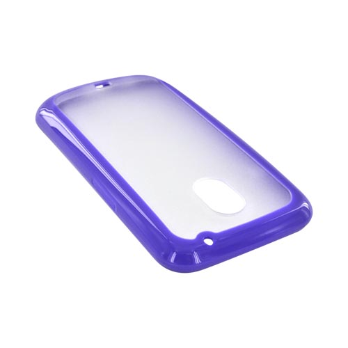 Samsung Galaxy Nexus Hard Back w/ Crystal Silicone Border - Purple/ Frost White