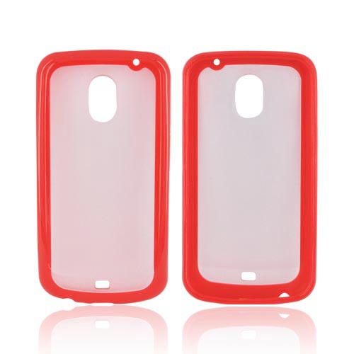 Samsung Galaxy Nexus Hard Back w/ Crystal Silicone Border - Red/ Frost White