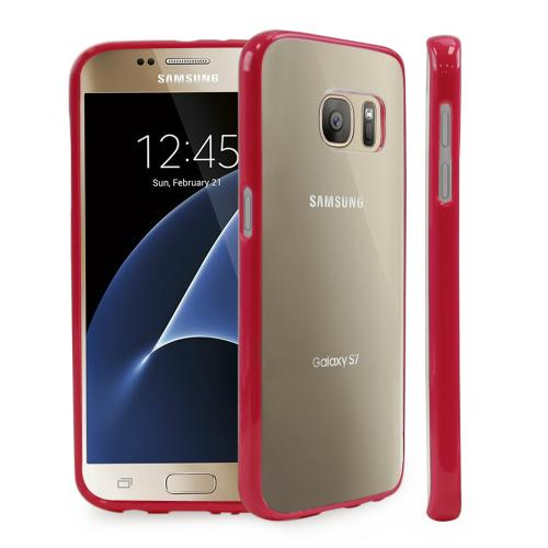 Samsung Galaxy S7 Case,[REDshield] Crystal Back Bumper Case [Drop Protection][Clear Hot Pink] Flexible Border Case