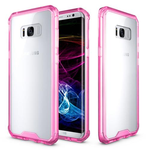 Samsung Galaxy S8 Plus Case, [REDshield] Crystal Back Bumper Case [Drop Protection] [Hot Pink] Flexible Border Case with Travel Wallet Phone Stand