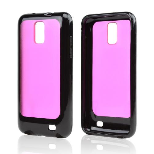 Samsung Galaxy S2 Skyrocket Hard Back w/ Crystal Silicone Border - Black/ Hot Pink