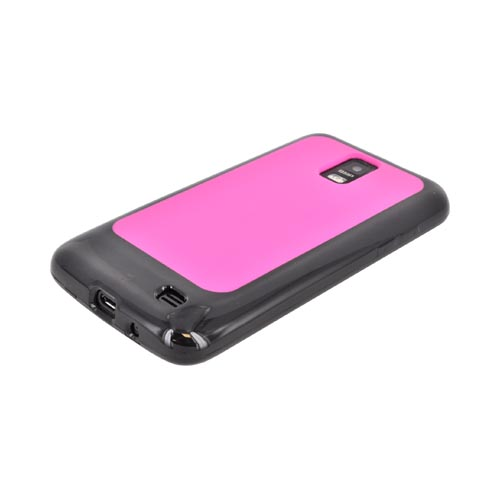 Samsung Galaxy S2 Skyrocket Hard Back w/ Crystal Silicone Border - Pink/ Black
