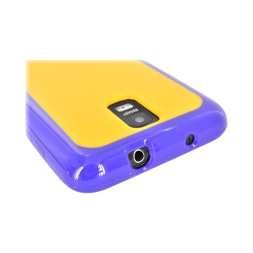 Samsung Galaxy S2 Skyrocket Hard Back w/ Crystal Silicone Border - Yellow/ Purple