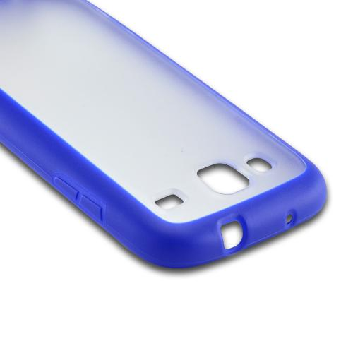 Blue/ Clear Hard Back Case w/ Gummy Crystal Silicone Lining for Samsung Stratosphere 3