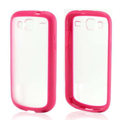 Hot Pink/ Clear Hard Back Case w/ Gummy Crystal Silicone Lining for Samsung Stratosphere 3
