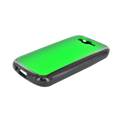 Samsung Focus 2 Hard Back Case w/ Gummy Crystal Silicone Lining - Green/ Black