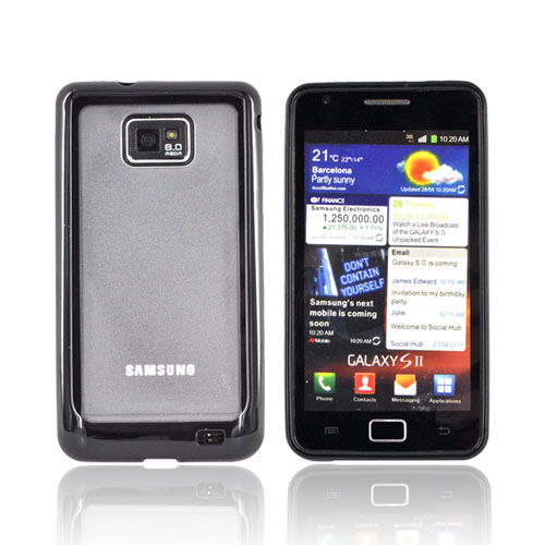 AT&T Samsung Galaxy S2 Hard Back Case w/ Gummy Crystal Silicone Lining - Black/ Smoke