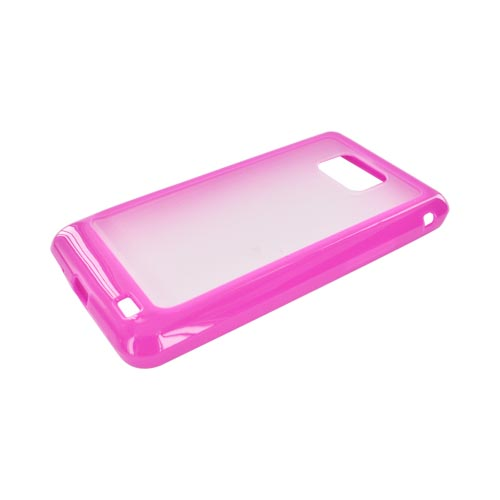 AT&T Samsung Galaxy S2 Hard Back Case w/ Gummy Crystal Silicone Lining - Hot Pink/ Clear