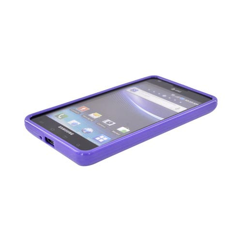 Samsung Infuse i997 Hard Back Case w/ Gummy Crystal Silicone Lining - Purple/ Frost White