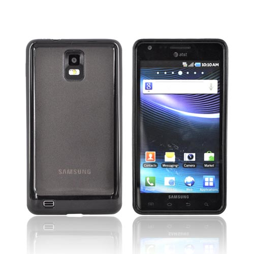 Samsung Infuse i997 Hard Back Case w/ Gummy Crystal Silicone Lining - Smoke/ Black