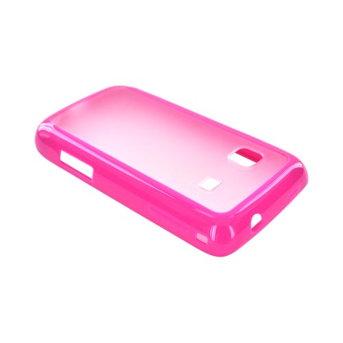 Samsung Galaxy Prevail M820 Hard Back w/ Gummy Crystal Silicone Lining - Clear/ Hot Pink