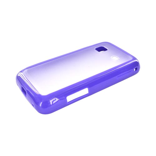 Samsung Galaxy Prevail M820 Hard Back w/ Gummy Crystal Silicone Lining - Clear/ Purple