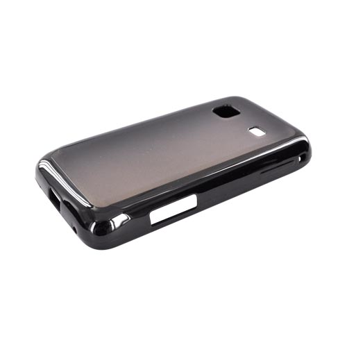 Samsung Galaxy Prevail M820 Hard Back w/ Gummy Crystal Silicone Lining - Smoke/ Black