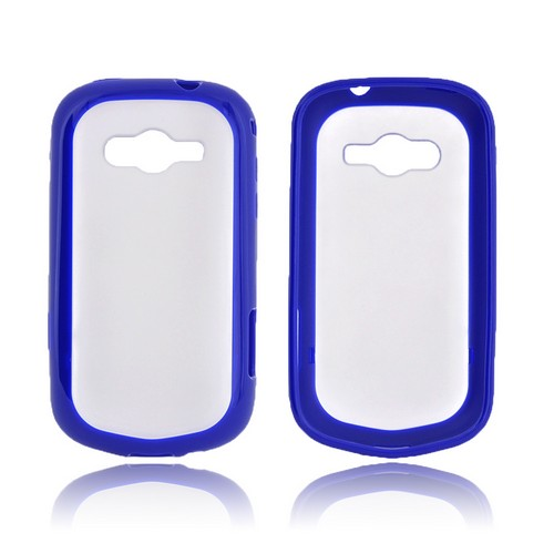 Samsung Galaxy Reverb Hard Back Case w/ Gummy Crystal Silicone Lining - Frost White/ Blue
