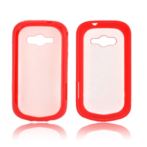 Samsung Galaxy Reverb Hard Back Case w/ Gummy Crystal Silicone Lining - Frost White/ Red