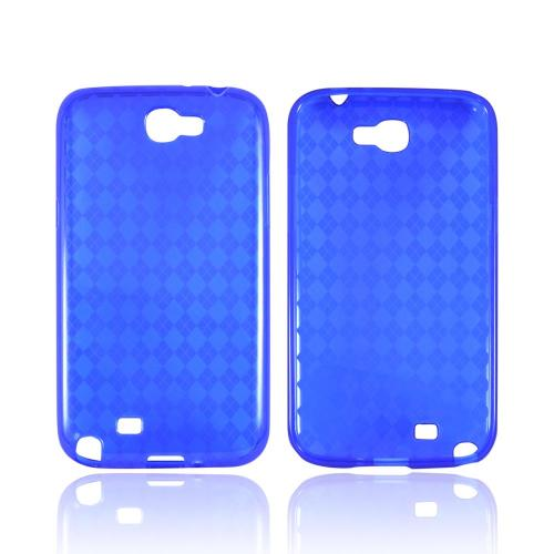 Samsung Galaxy Note 2 Crystal Silicone Case - Argyle Blue