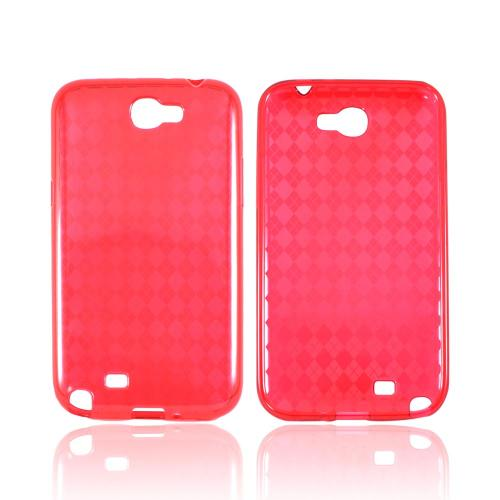 Samsung Galaxy Note 2 Crystal Silicone Case - Argyle Red