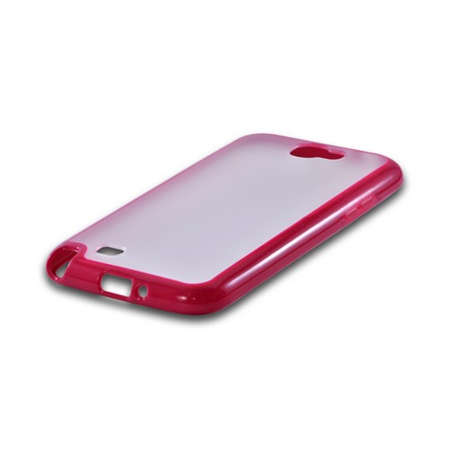 Samsung Galaxy Note 2 Hard Back w/ Gummy Silicone Border Case - Hot Pink/ Clear