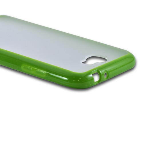 Samsung Galaxy Note 2 Hard Back w/ Gummy Silicone Border Case - Neon Green/ Clear